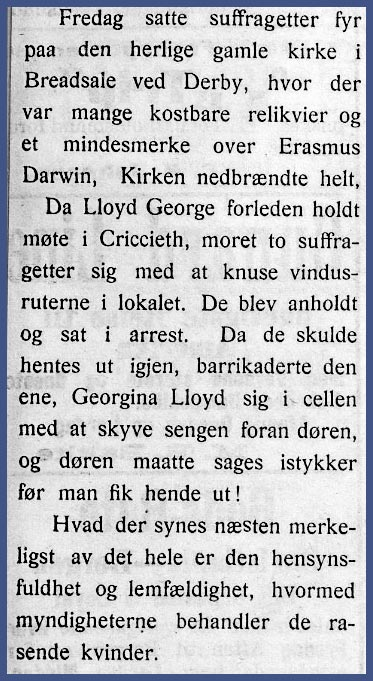 Notis om suffragettene. Agderposten, 1914